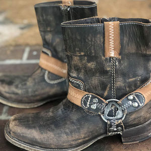 Bed Stu Distressed Leather Short Boots